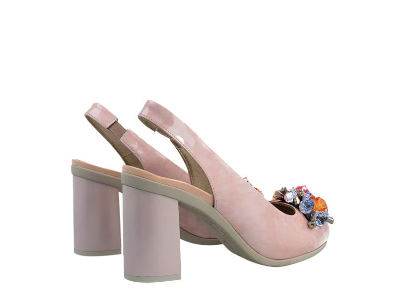 Pitillos High Patent Slingback with Crystal Trim Nude