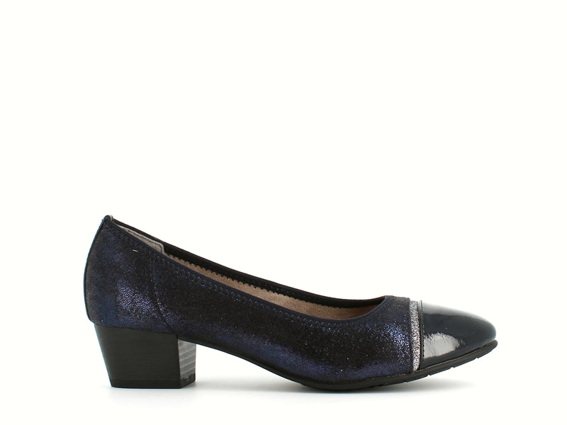 Jana Low Court Navy Glitter