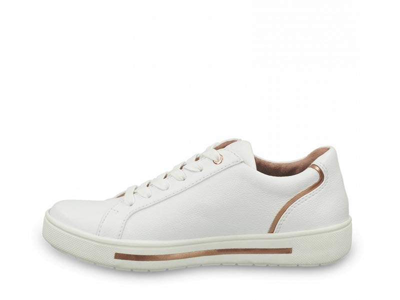 Jana Low Trainer White Rose Metal