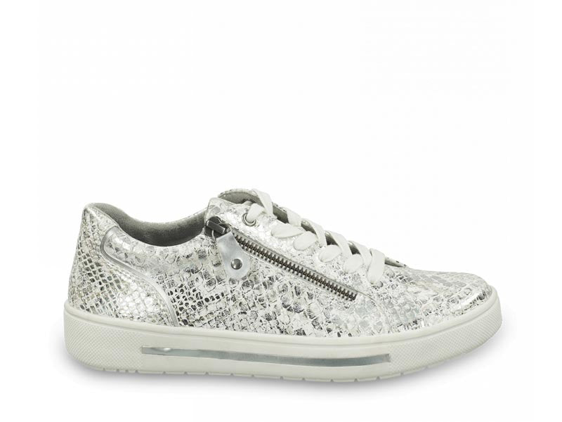 Jana Low Trainer White Snake Metal