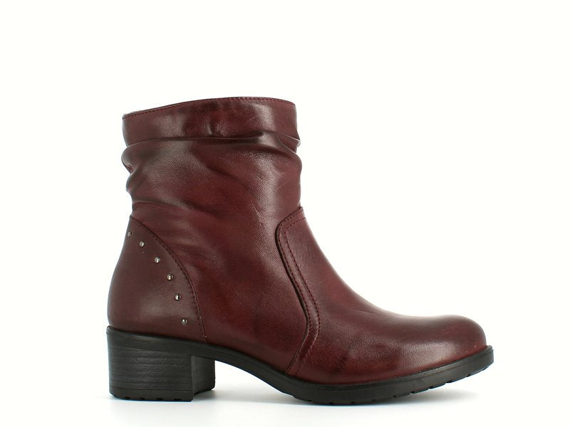 Cinders Edit Leather Slouch Ankle Boot Bordo