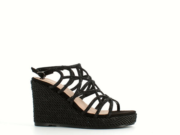 Kharisma High Strappy Glitter Wedge Black