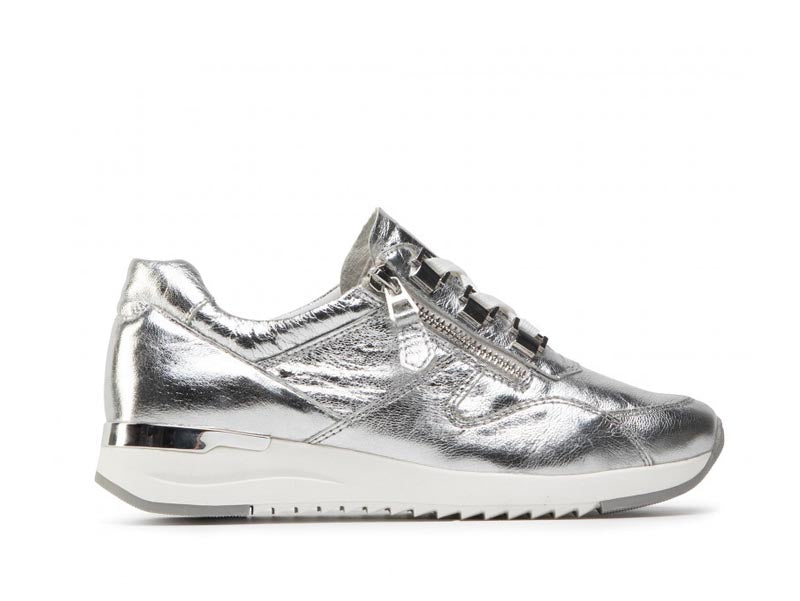 Caprice Leather Trainer Silver
