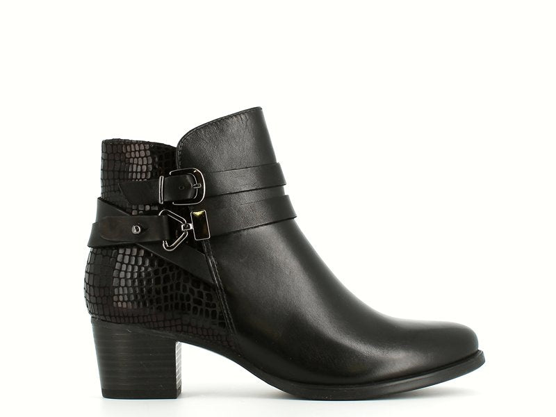 Caprice Croc/Leather Ankle Boot Black
