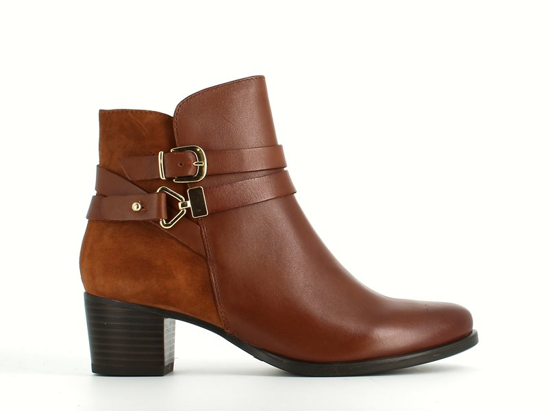 Caprice Suede/Leather Ankle Boot Cognac