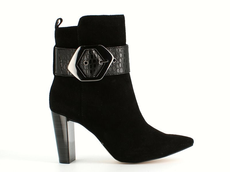 Caprice High Ankle Boot with Buckle Black