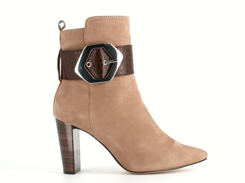 Caprice High Ankle Boot Buckle Taupe