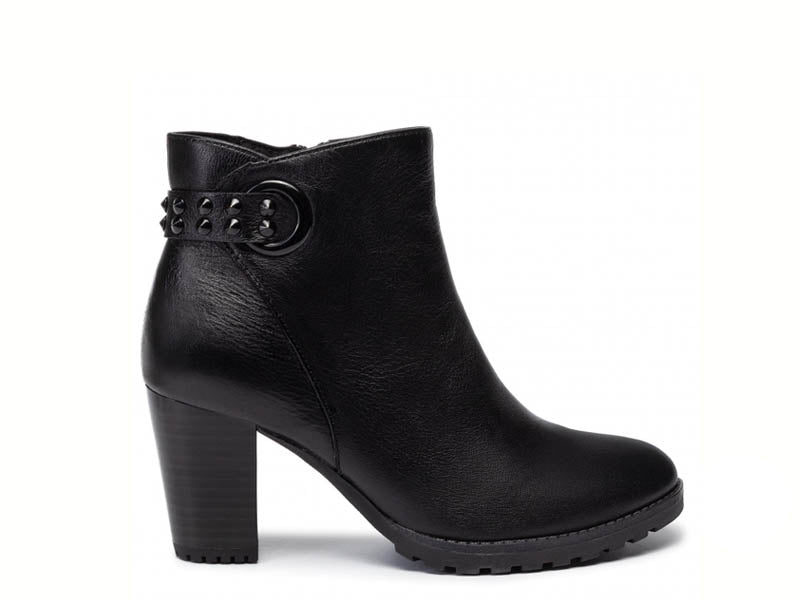Caprice Leather Ankle Boot with Studs Black