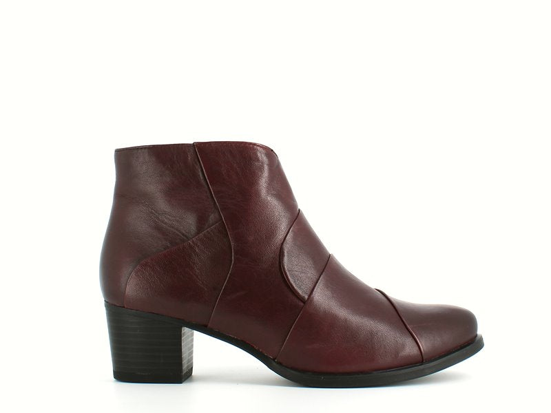 Caprice Leather Ankle Boot Burgundy
