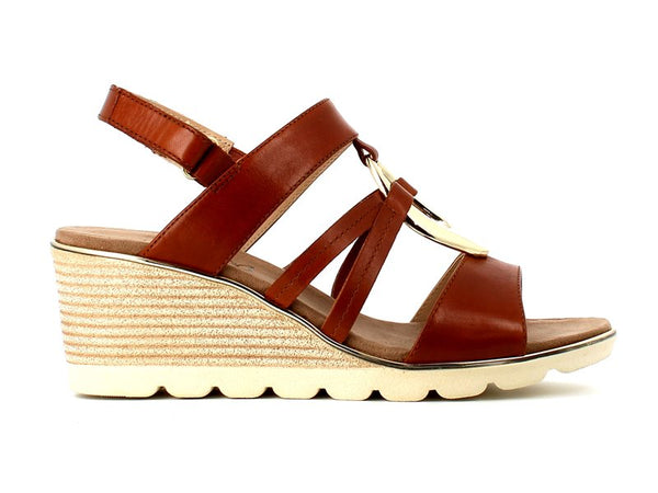 Caprice Leather Sandal Cognac