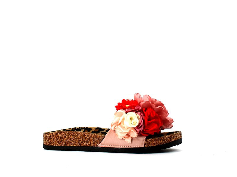 Colors of California Bio Sandals Leopard/Pink/Red