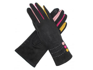 Gloves with Button Detail Black