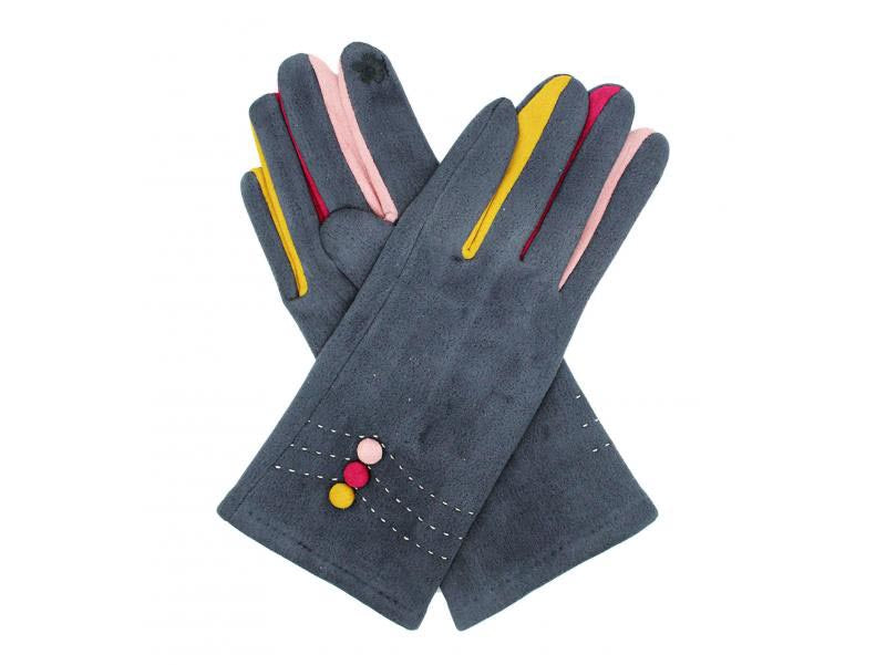 Gloves with Button Detail Grey