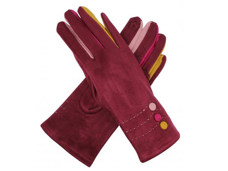 Gloves with Button Detail Maroon