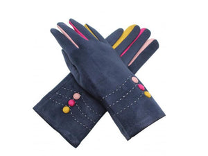 Gloves with Button Detail Navy