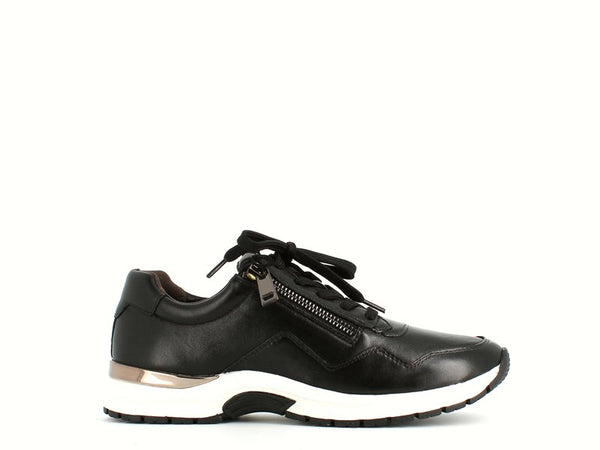 Caprice Leather Trainer Black