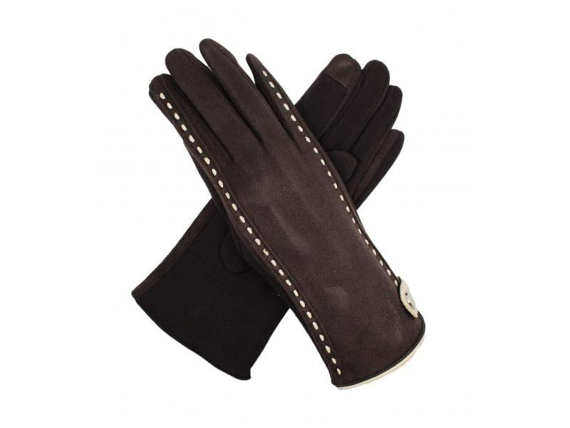 Gloves with Stud Detail Coffee