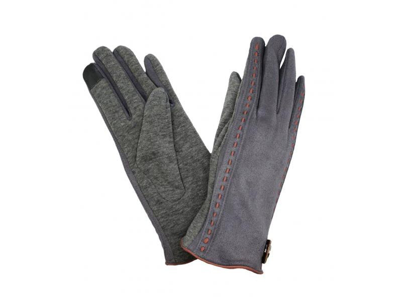 Gloves with Stud Detail Grey