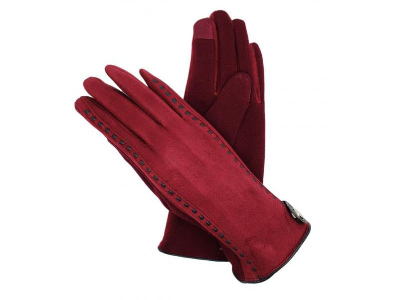 Gloves with Stud Detail Maroon