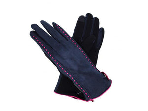 Gloves with Stud Detail Navy
