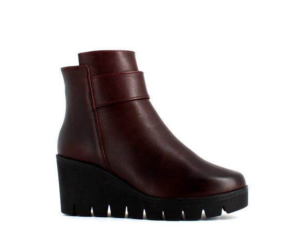 Italian Wedge Leather Ankle Boot Burgundy