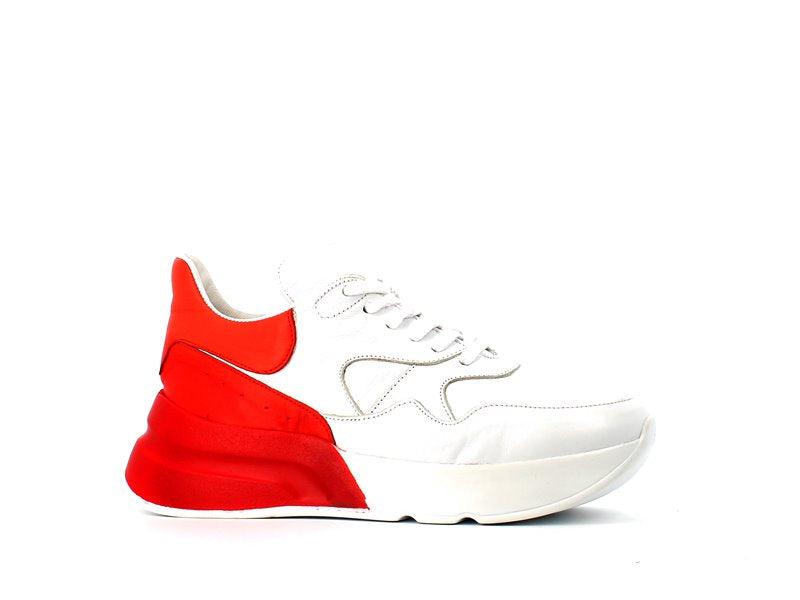 Cinders Leather Balcia Trainer White/Red