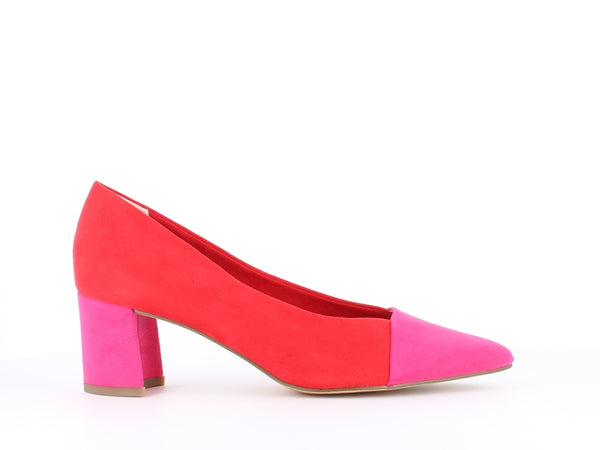 Marco Tozzi Block Heel Court Red/Pink
