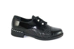 Cinders Croco Black Brogue