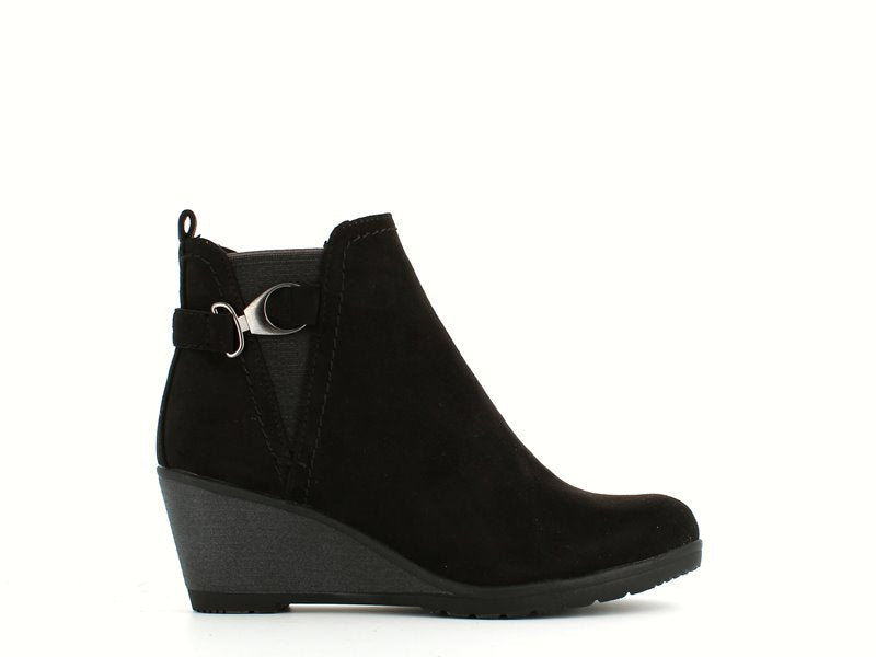 Marco Tozzi Wedge Ankle Boot Black