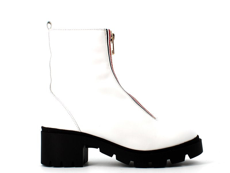 Cinders Ankle Boot Stripe Zip White