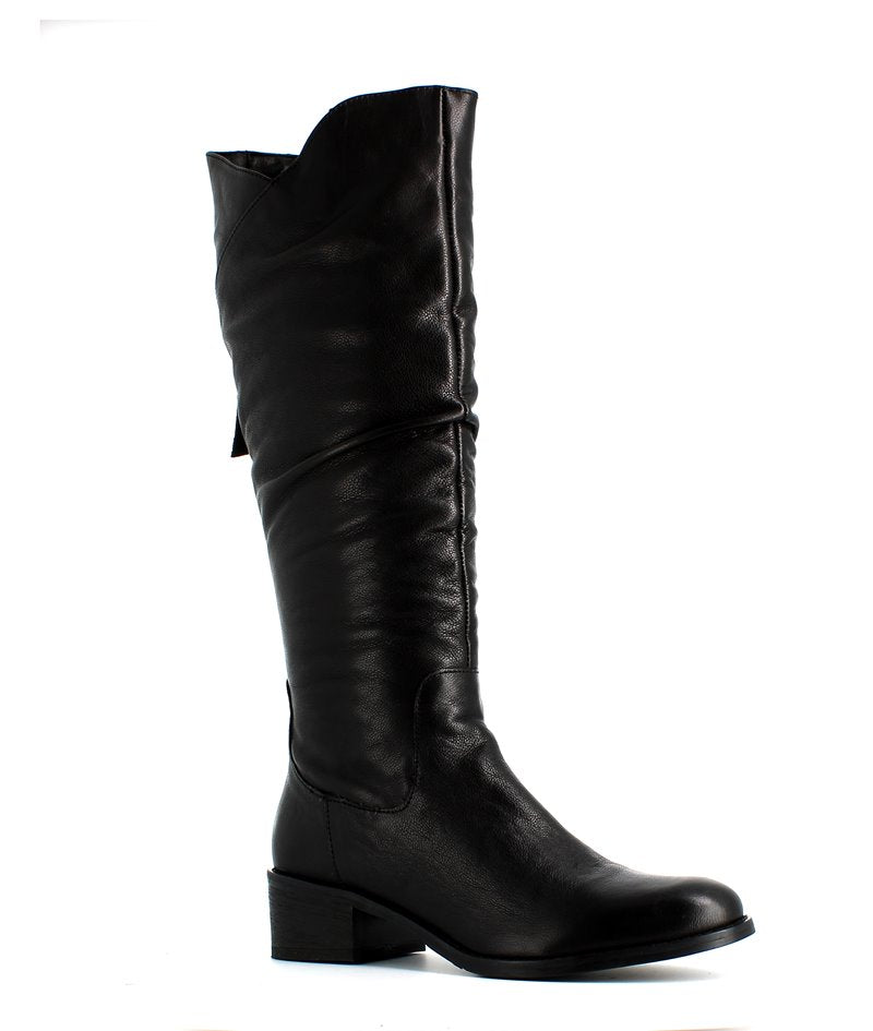 H Hosis Soft Leather Long Boot Black