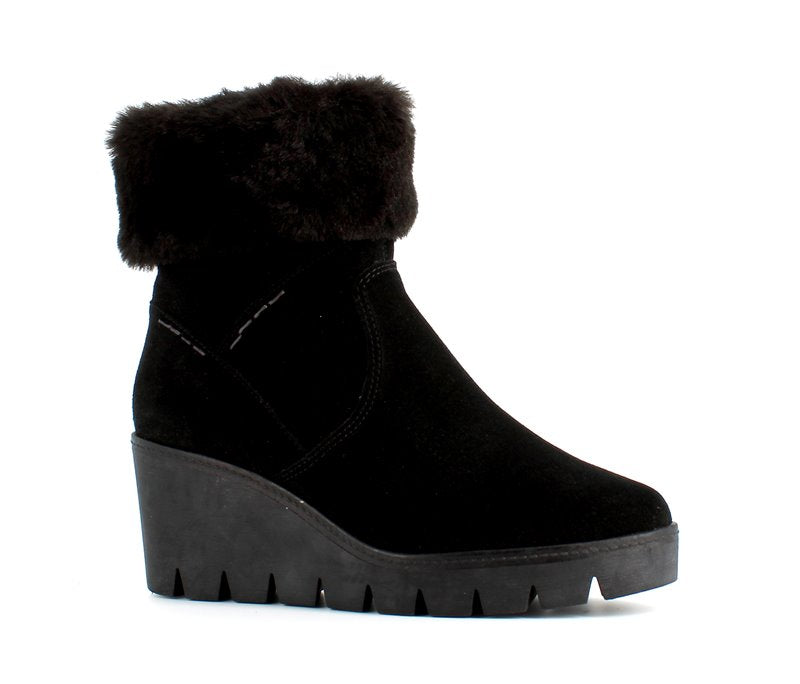Italian Wedge Faux Fur Ankle Boot Black