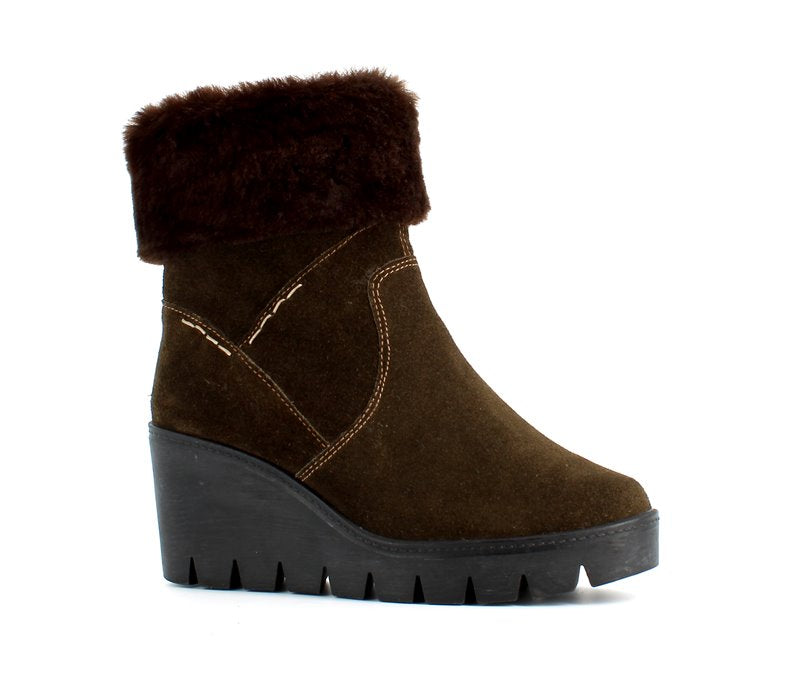 Italian Wedge Faux Fur Ankle Boot Khaki