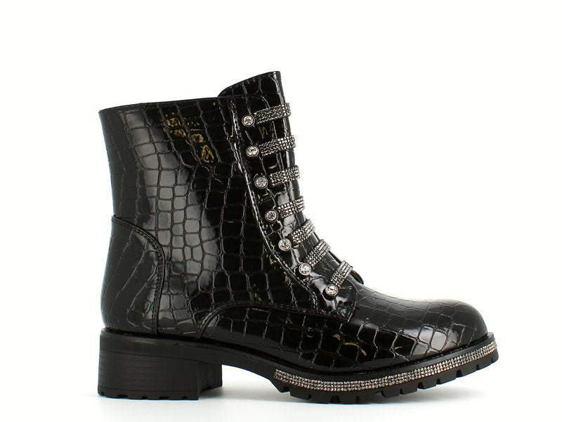 Cinders Fashion Diamante Biker Boots Croc Black