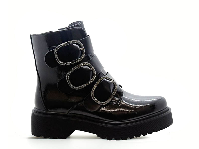 Cinders Fashion Biker Ankle Boot with Diamante Trim
