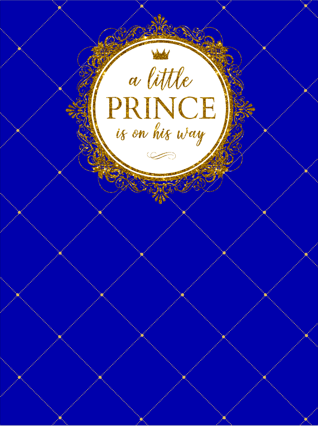 Prince Baby Shower / Gold Glitter / Royal Blue - Twins Print