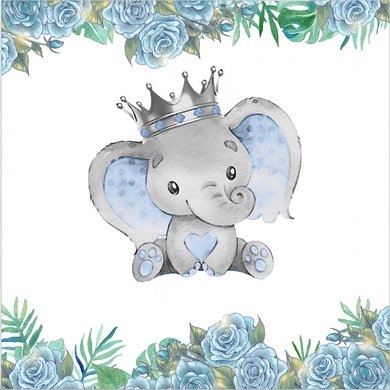 Crownd Baby Elephant  BACKDROP /  Baby Shower / It's a Boy - Twins Print