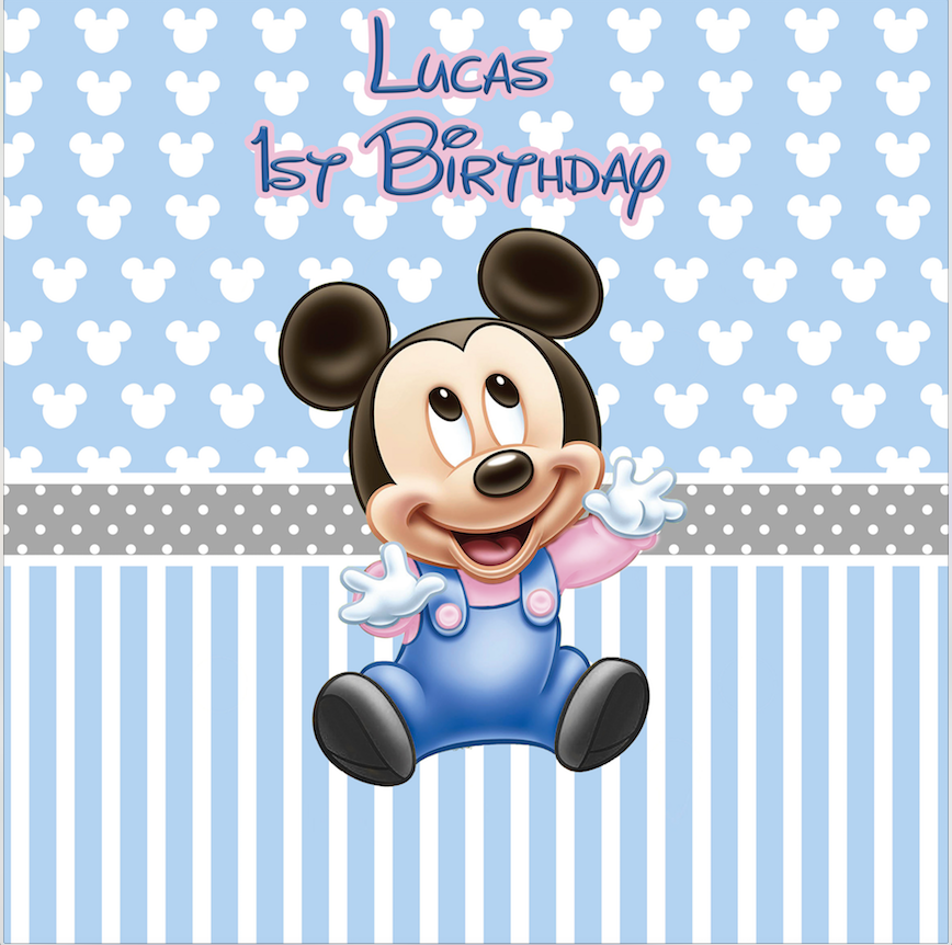 BABY MICKEY BACKDROP / BLUE PINK - Twins Print