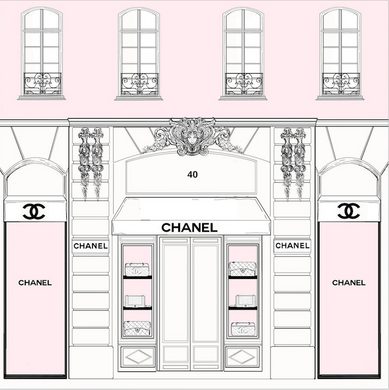 CHANNEL STORE FRONT BACKDROP / PARIS STORE - Twins Print