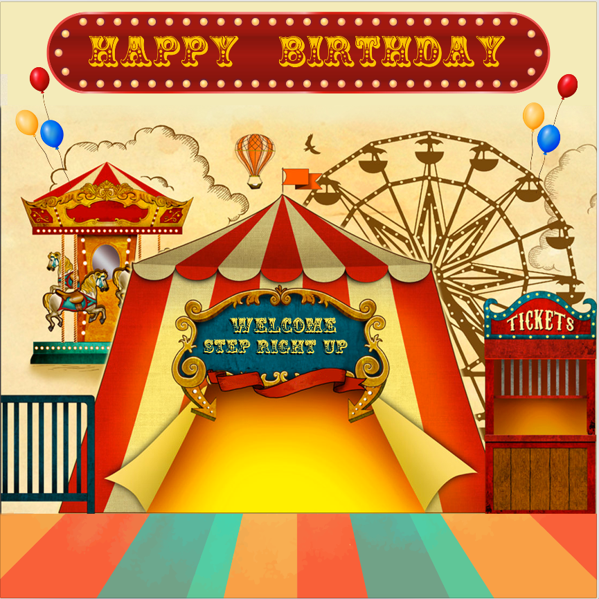 CIRCUS  BACKDROP 002 / HAPPY BIRTHDAY - Twins Print