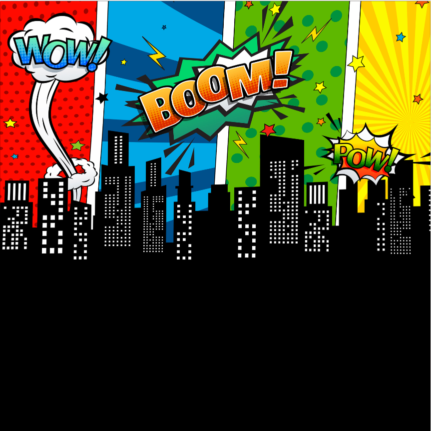 WOW/ BOOM/ POW BACKDROP - Twins Print