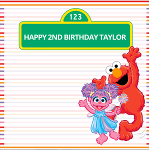 ELMO AND ABBY  BACKDROP - Twins Print