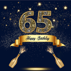 65TH BIRTHDAY  BACKDROP - Twins Print