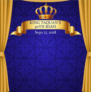 ROYAL BLUE BABY SHOWER  BACKDROP 002 - Twins Print