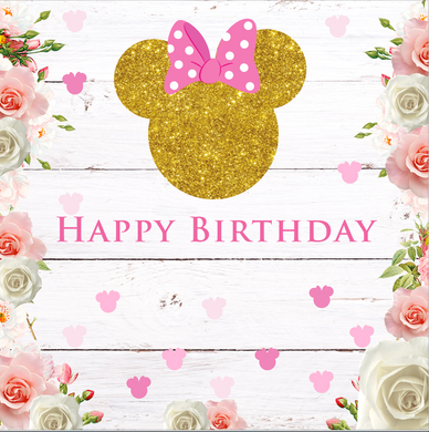 MINNIE MOUSE HEAD / GOLD  BACKDROP 004 - Twins Print