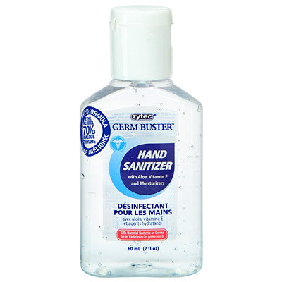 zytec Germ Buster Gel Hand Sanitizer with Aloe, Vitamin E and Moisturizers, 70% Alcohol, Compact Size, 60 mL