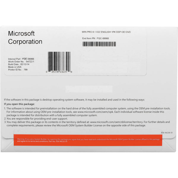 Microsoft Window 10 Home OEM English 64 bit-KW9-00139