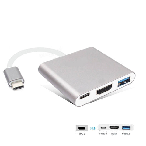 3 in 1 USB Type-C to HDMI+USB3.0+TYPE C Multiport Charging Converter HUB Adapter