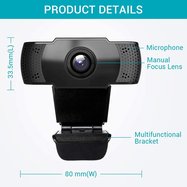 Vimtag HD Webcam 1080P with built-in microphone, USB Plug and Play, No software installation needed, Support Windows & Mac