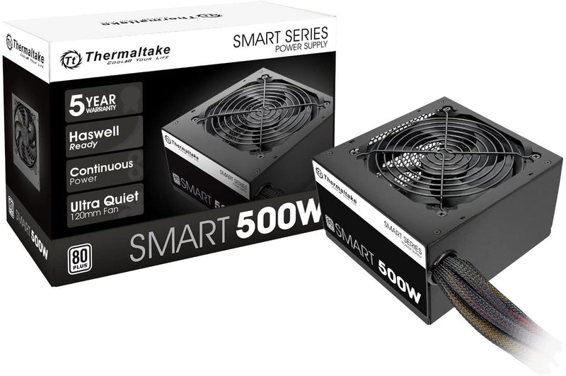 Thermaltake Smart 500W ATX 12V V2.3/EPS 12V 80 Plus Certified Active PFC Power Supply PS-SPD-0500NPCWUS-W   **Available online only**